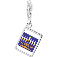 Link Charm Bracelet - 925  sterling silver gold plated religion menorah photo rectangle frame link charm Image.