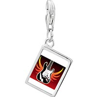 Link Charm Bracelet - 925  sterling silver gold plated music electric guitar photo rectangle frame link charm Image.