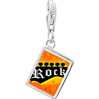Link Charm Bracelet - 925  sterling silver gold plated music rock rock photo rectangle frame link charm Image.