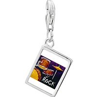 Link Charm Bracelet - 925  sterling silver gold plated music the band photo rectangle frame link charm Image.