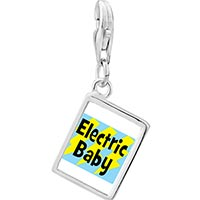 Link Charm Bracelet - 925  sterling silver gold plated music electric baby photo rectangle frame link charm Image.