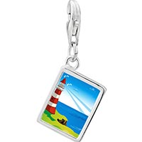 Link Charm Bracelet - 925  sterling silver gold plated travel &  culture lighthouse photo rectangle frame link charm Image.