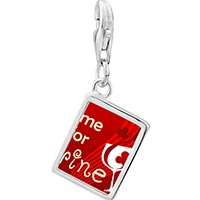 Link Charm Bracelet - 925  sterling silver red heart and time for wine photo rectangle frame link charm Image.