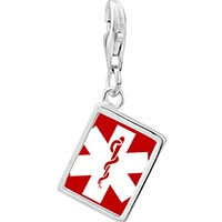 925 Sterling Silver Certified Nursing Assistant Cna Caduceus Photo Rectangle Frame Link Charm