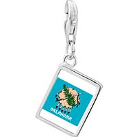 Link Charm Bracelet - 925  sterling silver gold plated travel oklahoma photo rectangle frame link charm Image.