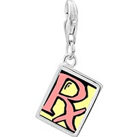 Link Charm Bracelet - 925  sterling silver px photo rectangle frame link charm Image.