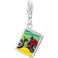 Link Charm Bracelet - 925  sterling silver motorcycle photo rectangle frame link charm Image.