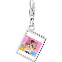 Link Charm Bracelet - 925  sterling silver naughty kitten photo rectangle frame link charm Image.