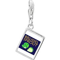 Link Charm Bracelet - 925  sterling silver brussels sprouts photo rectangle frame link charm Image.