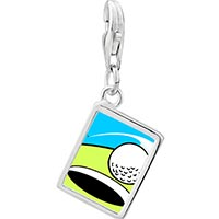 Link Charm Bracelet - 925  sterling silver golf photo rectangle frame link charm Image.