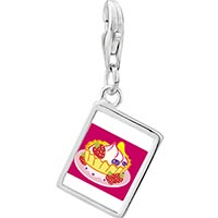 Link Charm Bracelet - 925  sterling silver icecream photo rectangle frame link charm Image.