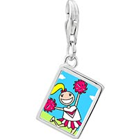 Link Charm Bracelet - 925  sterling silver cheering cheer leader photo rectangle frame link charm Image.
