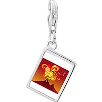 Link Charm Bracelet - 925  sterling silver volcanic explosion photo rectangle frame link charm Image.