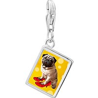Link Charm Bracelet - 925  sterling silver puppy in red high heel shoe photo rectangle frame link charm Image.