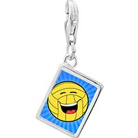 Link Charm Bracelet - 925  sterling silver laughing and sparking football photo rectangle frame link charm Image.