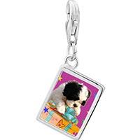 Link Charm Bracelet - 925  sterling silver poodle and present photo rectangle frame link charm Image.