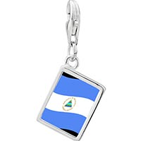Link Charm Bracelet - 925  sterling silver nicaragua flag photo rectangle frame link charm Image.