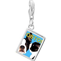 Link Charm Bracelet - 925  sterling silver boston terrier photo rectangle frame link charm Image.