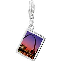 Link Charm Bracelet - 925  sterling silver night scene photo rectangle frame link charm Image.