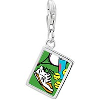 Link Charm Bracelet - 925  sterling silver sports equipment photo rectangle frame link charm Image.