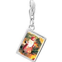 Link Charm Bracelet - 925  sterling silver santa tree ornament photo rectangle frame link charm Image.
