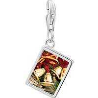 Link Charm Bracelet - 925  sterling silver christmas bells photo rectangle frame link charm Image.