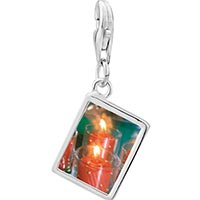 Link Charm Bracelet - 925  sterling silver red holiday candles photo rectangle frame link charm Image.