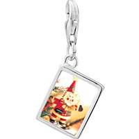 Link Charm Bracelet - 925  sterling silver santa claus ornament photo rectangle frame link charm Image.