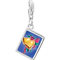 Link Charm Bracelet - 925  sterling silver holly and bells photo rectangle frame link charm Image.
