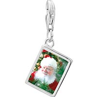 Link Charm Bracelet - 925  sterling silver santa claus is here photo rectangle frame link charm Image.