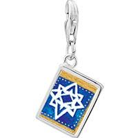 Link Charm Bracelet - 925  sterling silver jewish stars photo rectangle frame link charm Image.
