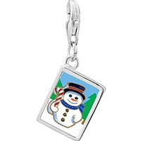 Link Charm Bracelet - 925  sterling silver snowman in woods photo rectangle frame link charm Image.