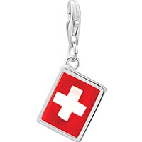 Link Charm Bracelet - 925  sterling silver flag of switzerland photo rectangle frame link charm Image.