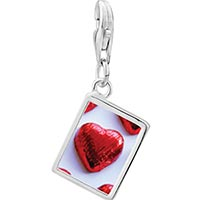 Link Charm Bracelet - 925  sterling silver wrapped heart candy photo rectangle frame link charm Image.
