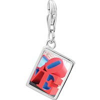 Link Charm Bracelet - 925  sterling silver love sculpture photo rectangle frame link charm Image.