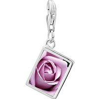 Link Charm Bracelet - 925  sterling silver blooming rose photo rectangle frame link charm Image.