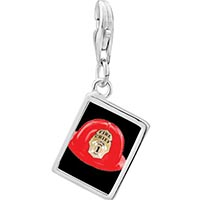 Link Charm Bracelet - 925  sterling silver fire chief helmet photo rectangle frame link charm Image.