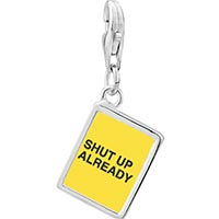 Link Charm Bracelet - 925  sterling silver shut up already yellow photo rectangle frame link charm Image.