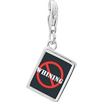 Link Charm Bracelet - 925  sterling silver no whining sign photo rectangle frame link charm Image.
