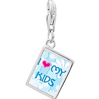 Link Charm Bracelet - 925  sterling silver i heart my kids photo rectangle frame link charm Image.