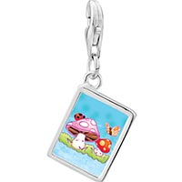 Link Charm Bracelet - 925  sterling silver mushrooms and butterfly photo rectangle frame link charm Image.