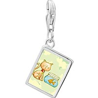 Link Charm Bracelet - 925  sterling silver cat with goldfish photo rectangle frame link charm Image.