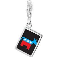 Link Charm Bracelet - 925  sterling silver democrat donkey on black photo rectangle frame link charm Image.