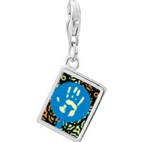 Link Charm Bracelet - 925  sterling silver graffiti hand photo rectangle frame link charm Image.