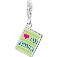 Link Charm Bracelet - 925  sterling silver i heart my family photo rectangle frame link charm Image.