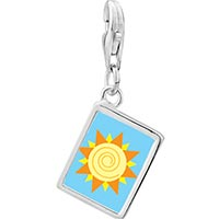 Link Charm Bracelet - 925  sterling silver sun swirl photo rectangle frame link charm Image.