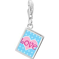 Link Charm Bracelet - 925  sterling silver pink love heart photo rectangle frame link charm Image.