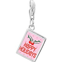 Link Charm Bracelet - 925  sterling silver happy holidays holly photo rectangle frame link charm Image.