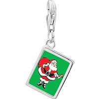 Link Charm Bracelet - 925  sterling silver santa claus gift sack photo rectangle frame link charm Image.