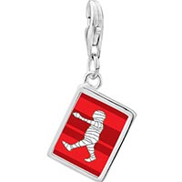 Link Charm Bracelet - 925  sterling silver walking halloween mummy photo rectangle frame link charm Image.